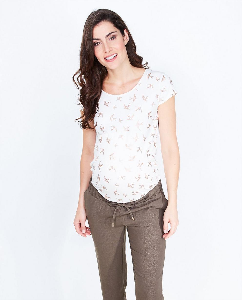 T-shirt blanc en viscose - imprimé d'oiseaux intégral - Joli Ronde